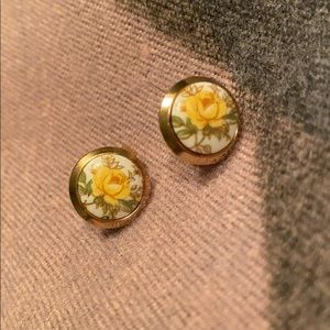 Yellow Rose Vintage Clip Button Earrings
